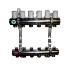 "Picture of Vloerverwarmingverdeler, 2 - 12 circuits, 1"", Messing  vernikkeld"