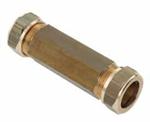 Afbeelding van Messing-knelring buiskoppeling 100 mm 2-zijdig voor buis-Ø 15 mm