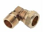 """Afbeelding van Messing-knelkoppeling, knie / US clindrisch uitwendig schroefdraad voor buis-Ø 8 - 35 mm x 3/8 - 1 1/4"""""""