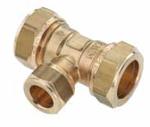Afbeelding van Messing-knelkoppeling, T-stuk / verloop voor buis-Ø 15 - 28 x 12 - 22 x 15 -28 mm
