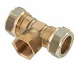 """Afbeelding van Messing-knelkoppeling, T-stuk / IS voor buis-Ø 12 - 28 x 1/2"""" - 3/4"""" x 12 - 28 mm"""
