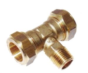 """Picture of Messing-knelkoppeling, T-stuk / US met uitwendige cilindrische schroefdraad voor buis-Ø 15 - 22 x 1/2 """" x 15 - 22 mm"""