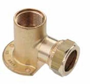 """Picture of Messing-knelkoppeling, muurplaat / IS voor buis-Ø 15 - 22 mm x 1/2 - 3/4"""""""