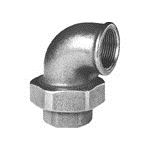 Afbeelding van Fitting van smeedbaar gietijzer knie schroefverbinding 90 graden bi/bi vlak afdichtend