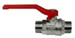 """Afbeelding van MS-kogelkraan 1/2' - 2"""" US (DN15/50) met rode hendel van staal, PN 25, MS 58"""