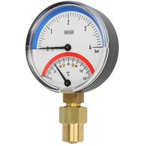 """Picture of Thermo-manometer, 0-2,5 - 4 bar, 0-120°C 80 mm, radiaal, 1/2"""""""