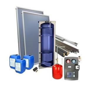 Picture of set: 'O2PP2-300S2' - 2plus 2 x vlakkeplaatcollector voor platdak 200 Liter solarboiler