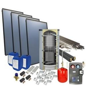 Picture of set: 'O4PP4-500H1' - 4plus 4 x vlakkeplaatcollector voor schuindak 500 liter hygiëneboiler