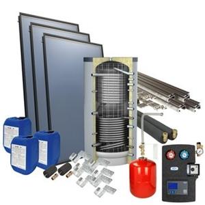 Picture of set: 'O4PP3-400H1' - 4plus 3 x vlakkeplaatcollector voor schuindak 400 liter hygiëneboiler