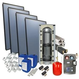 Picture of set: 'O4PP4-800H1' - 4plus 4 x vlakkeplaatcollector voor schuindak 800 liter hygiëneboiler
