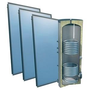 Picture of set: 'O4PP3-400S2' - 4plus 3 x vlakkeplaatcollector voor schuindak 400 liter solarboiler